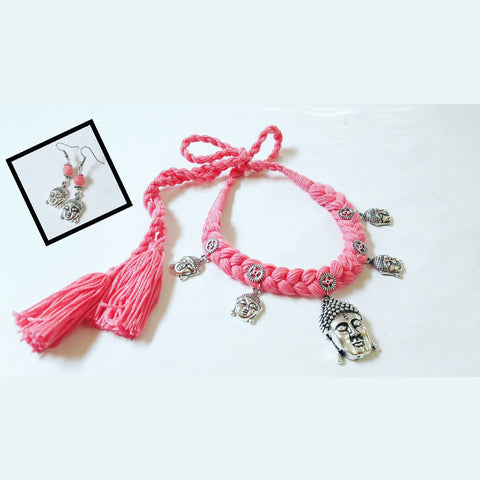 Pink Thread Buddha Necklace