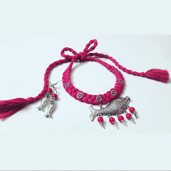 Pink Thread Fish Necklace