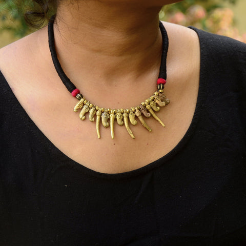 Dokra Necklace Red Chilly