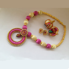Pink and Half White Necklace Set