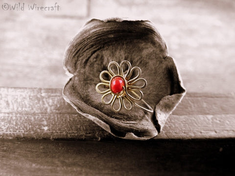 Red Flower Faux Nose Ring