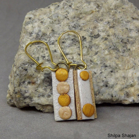 Reversible Earrings - Pearl white, Rose gold and Gold ( Rectangle Small )