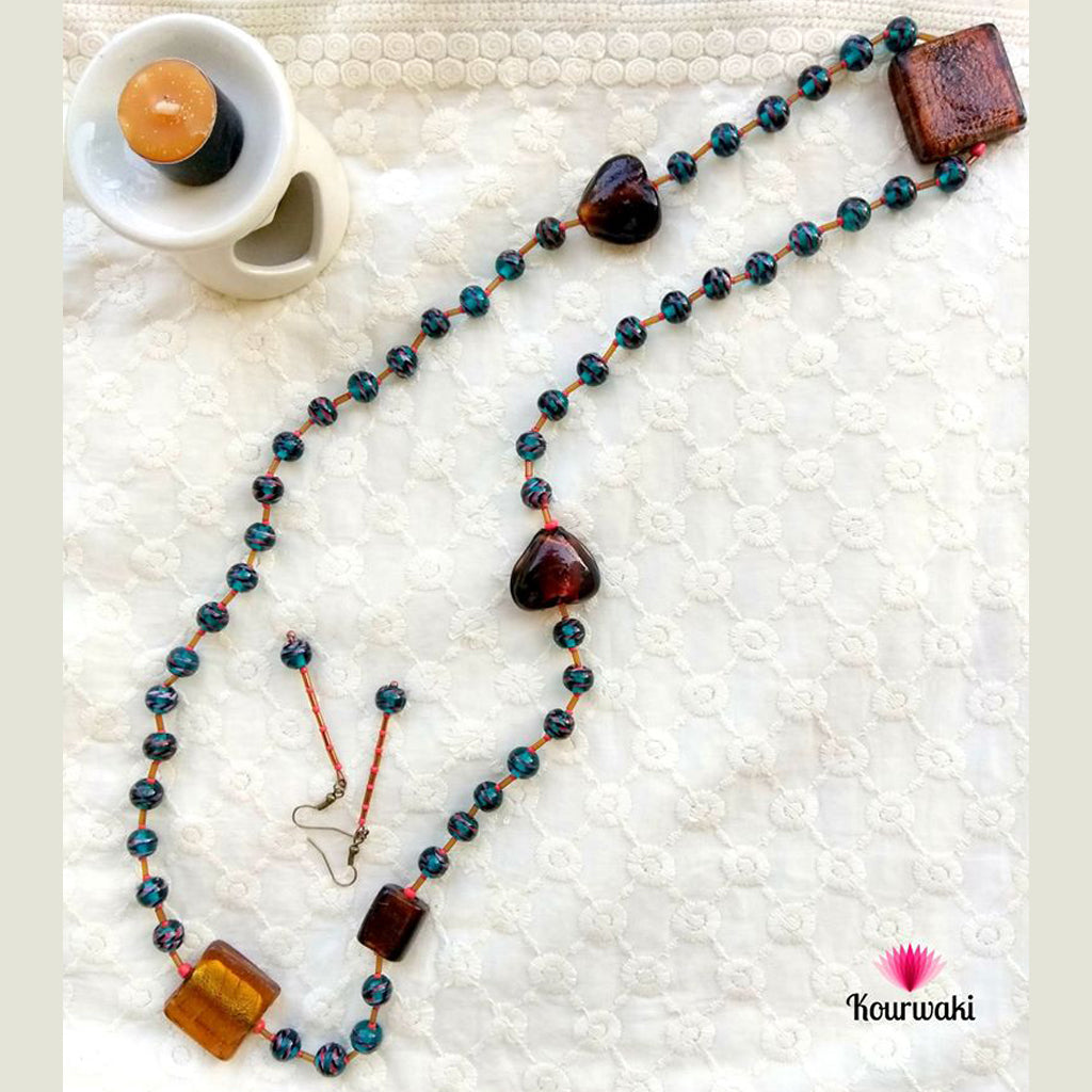 Hand-knotted Long Necklace with Danglers