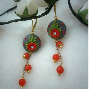 Red Daisy Earrings