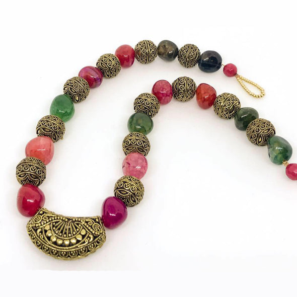 Multi Coloured Natural Stones Necklace
