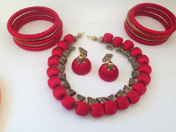 Red Necklace Set with Bangles