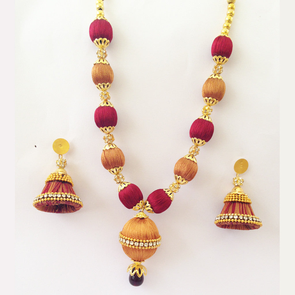 fashion and zoom thread shop one live aaradhya hover bengal maroon shopping life necklace product set golden store to with