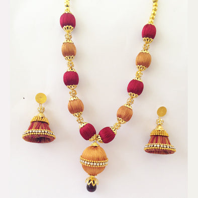 Maroon and Golden Beads Necklace
