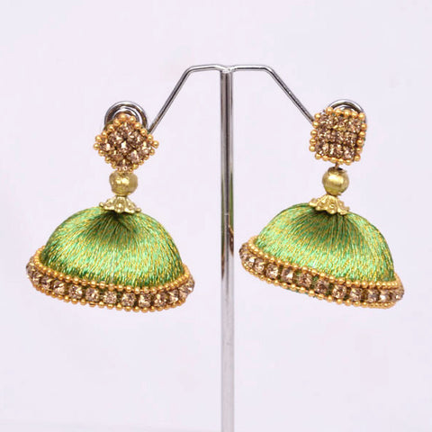 Green with Golden Thread Jhumkas