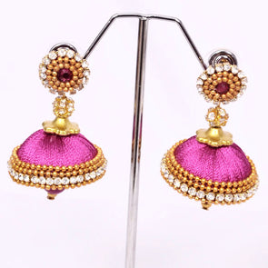 Dark Pink Silk Thread Jhumkas