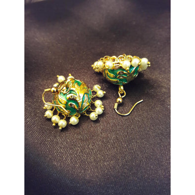 Brocate Golden and Blue Jhumkas