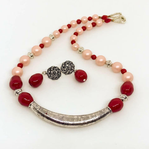 Salmon Pink Pearl Set