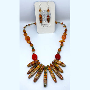 Orange Jasper Spikes with Agate and Stone