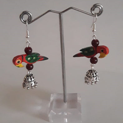 Jhumka with Wooden Bird Beads