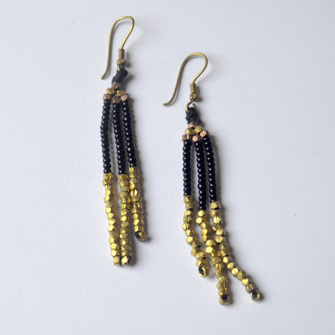 Black and Gold Dokra Earring