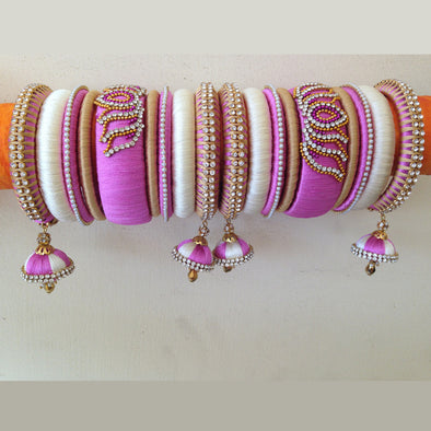Pink and Half White Bangles Set