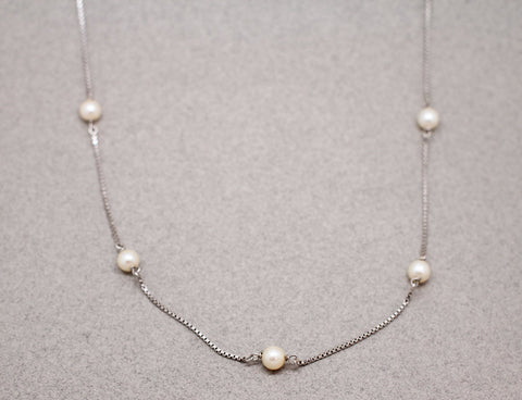 LES RECYCLÉS : Collier Or Blanc Perles