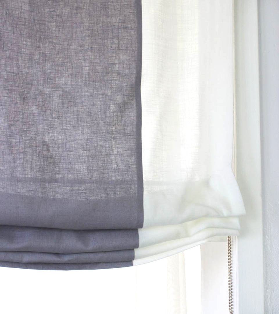 White Light Grey 2 Color Combo Linen Relaxed Roman Shade Classic Modern Home