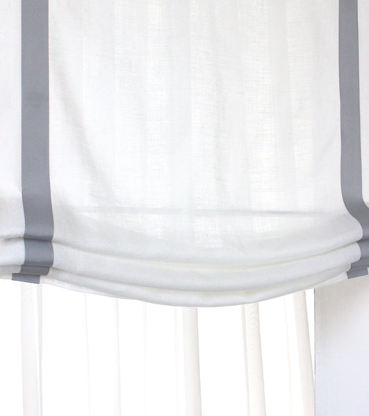 Gray Border Off White Linen Relaxed Roman Shade Classic