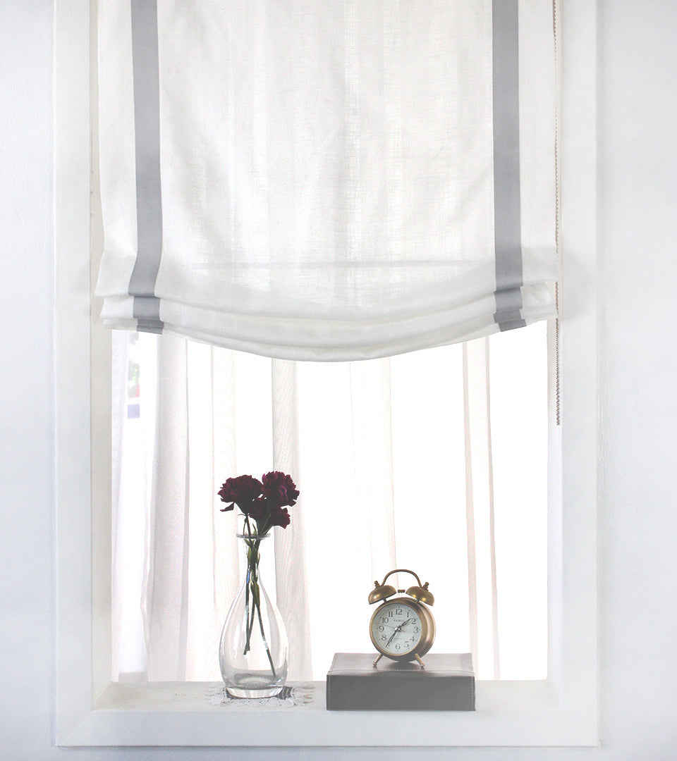 Grey Border White Linen Relaxed Roman Shade Classic Modern Home