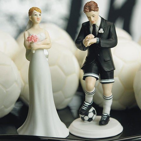 Soccer Player Groom Wedding Cake Topper|Figurine du marié joueur de soccer