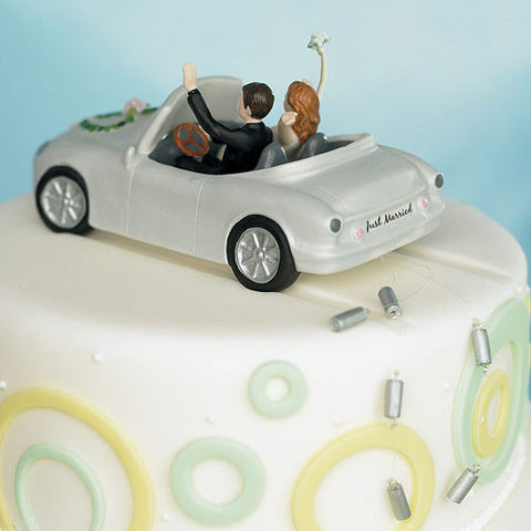 """Honeymoon Bound"" Couple In Car Wedding Cake Topper 