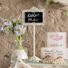 Tabletop Antique White Blackboard Stand|Porte carte antique ardoise blanc