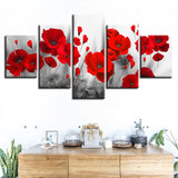 Tableau Coquelicots Feng shui dominante Rouge