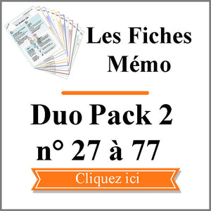 Fiches Mémo Feng Shui Duo Pack 2 - Fiches n° 27 à 77