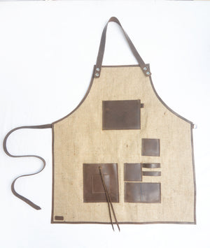 Burlap Leather Apron