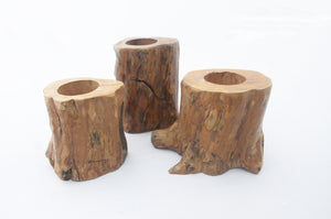 Coffee Wood Candle Holders (set of 3)