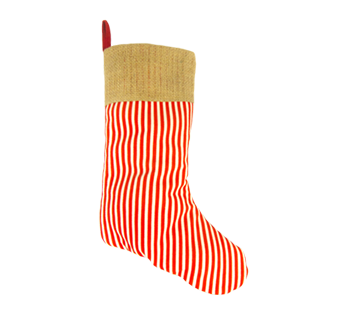 Burlap Christmas Stocking - Candy Cane Pattern