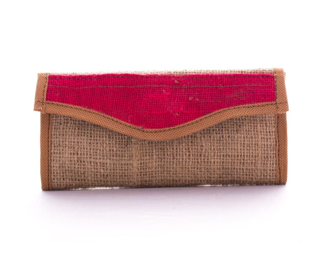 Red Burlap Wallet