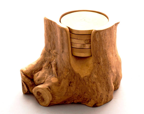 Coffee Wood Coasters with Trunk Base