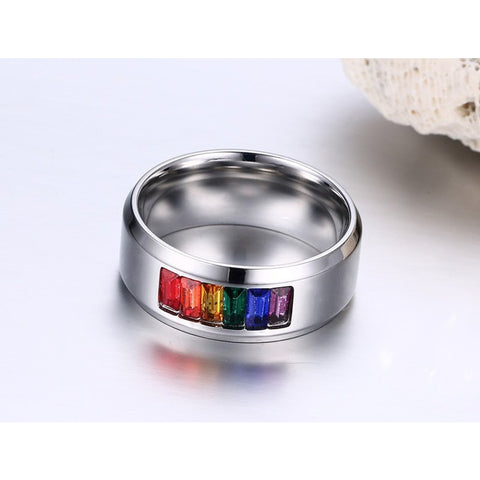 Bague Incrustée de Diamants Fantaisie Arc-en-Ciel