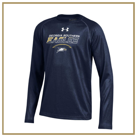 Youth Navy Long Sleeve Tech Tee Football