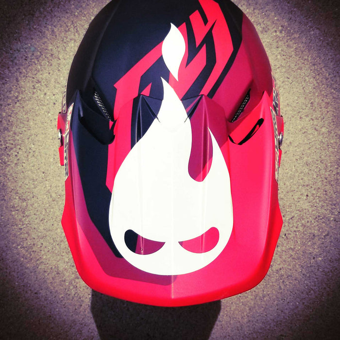 Nag #1 Patrick Coo, Danger Snacks official flame logo helmet sticker installed on his Fly lid.