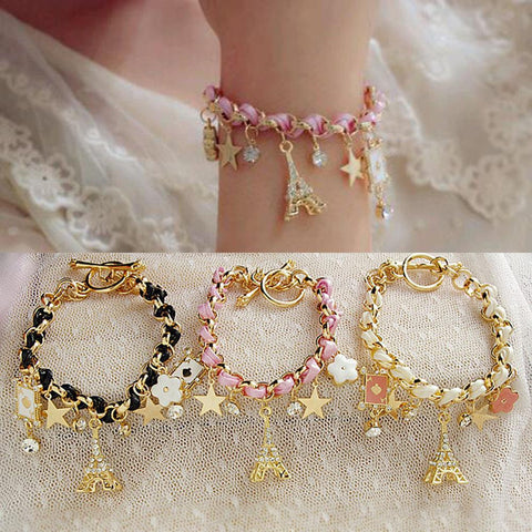 New Hot sell  Fashion Jewelry Multielement Gold Chain Leather Rope Crystal Handmade Bracelet Eiffel Tower Star Pendant For Girls
