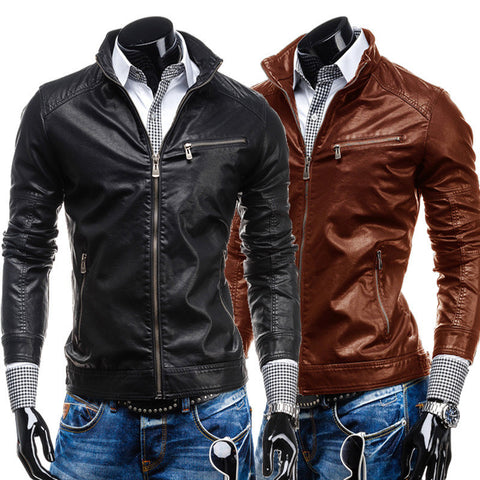 Free shipping New Early Spring Men's Leisure zipper multi-pocket collar PU leather,Men's Fashion.