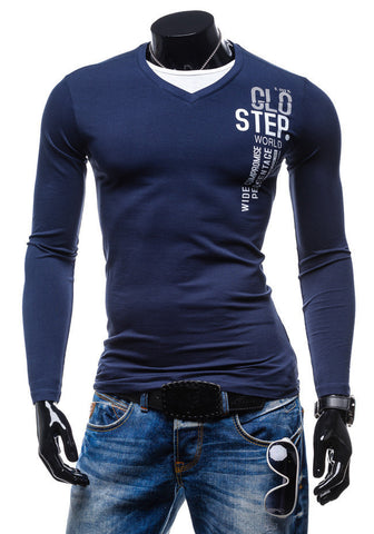 2015 New men's casual slim fit t shirt fashion printing Long SleeveT-shirt