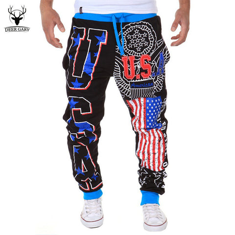 2016 New Arrival Casual Men's leisure pants USA letters design Loose Male Long pants Fashion High Quality trousers 3 Colors