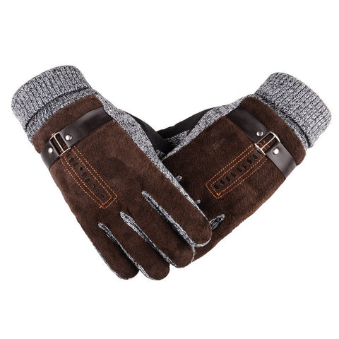 Winter Warm Non-slip Mens Thicken Gloves Outdoor Mittens Driving Skiing Hiking Cycling Golf Hunting Gloves 2 Colors