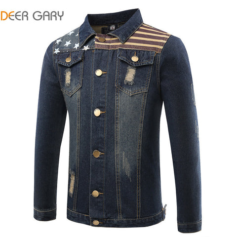 2016 New Spring Autumn Fashion Men's Denim Jacket High Quality Embroidery Brand Men Jacket Slim Fit Denim Jacket Coat  Plus Size