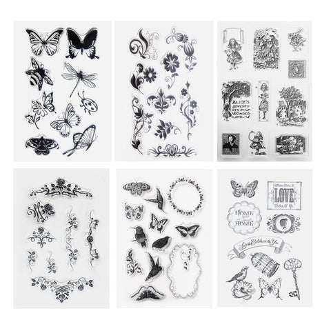 1pcs Butterfly Transparent Clear Stamp DIY Silicone Seals Scrapbooking Card Making Photo Album Christmas Decoration Supplies