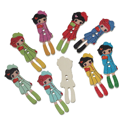 "DoreenBeads Wood Sewing Button Scrapbooking Girl At Random Two Holes 3.5cm(1 3/8"")x 12mm(4/8""),9 PCs 2015 new"