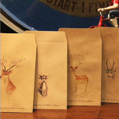12 pcs/lot  Deer Paper Envelope 4 Designs Cute Mini Envelopes Vintage European Style For Card Scrapbooking Gift Free shipping