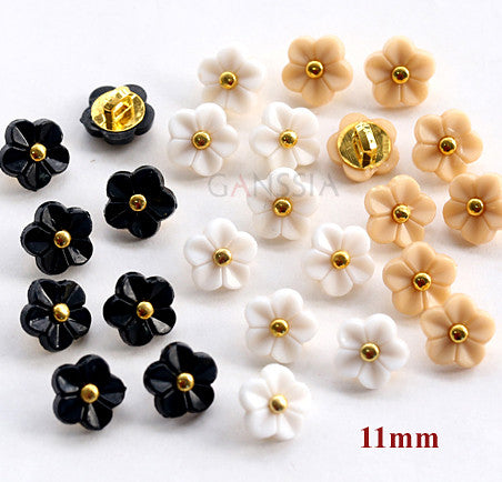 50pcs/lot Size:11mm Kawaii flower 5 colors buttons Rhinestone buttons for shirt Scrapbooking accessories Plastic button(SS-738)