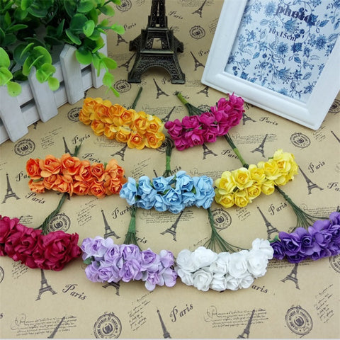 12PCS/lot 1.5cm Mini Paper Rose Artificial Flowers Hands For Wedding Decoration  Scrapbooking Small Fake Flower Bouquet