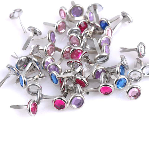 100PCs Mixed Rhinestone Round Brads Scrapbooking Embellishment Fastener Brads Metal Crafts For shoes Decoration 8.5X15mm CP1115