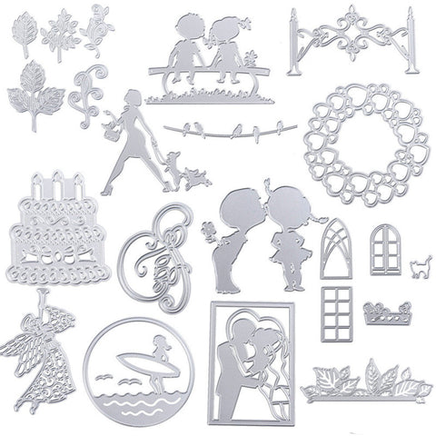 2017 Silver person/party set moulds Metal Cutting Dies Stencil DIY Scrapbooking Embossing Album Paper Card Craft for wedding DIY